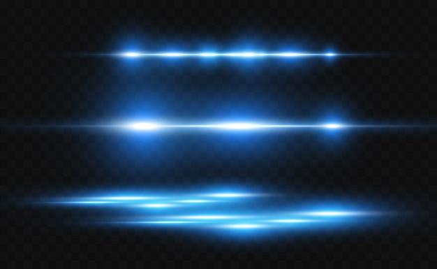 Efeito especial azul claro. listras brilhantes brilhantes em um fundo transparente.