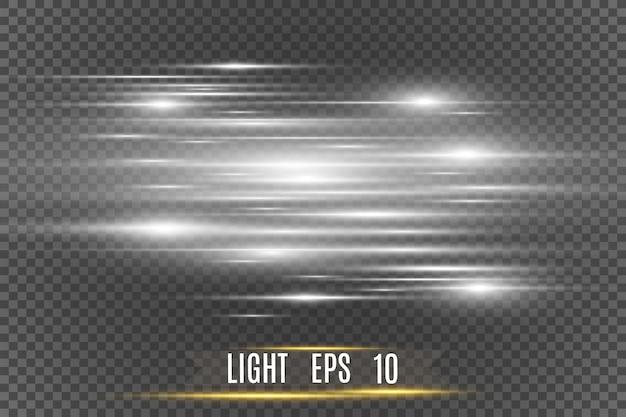 Efeito especial de luz de vetor. listras luminosas.
