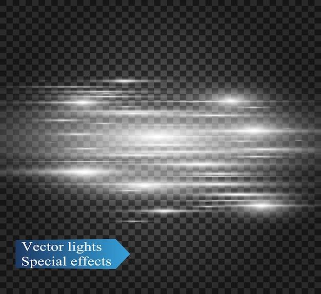 Efeito especial de luz. listras luminosas em um fundo transparente.