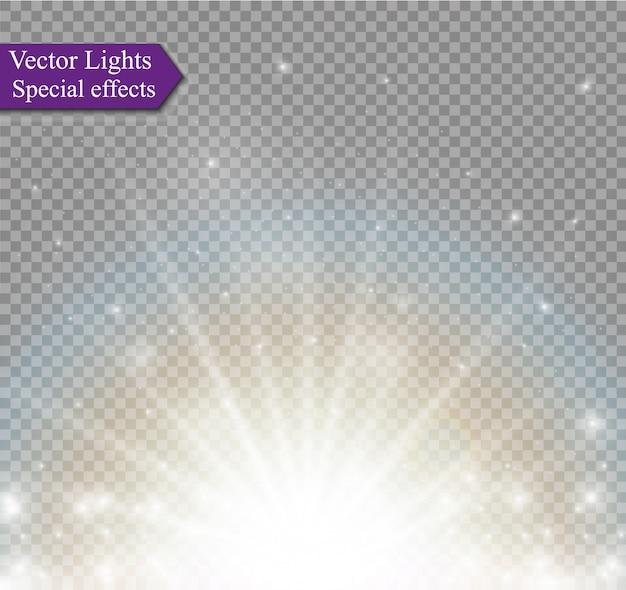 Efeito especial de reflexo de luz com raios de luz e brilhos mágicos. conjunto de efeito de luz transparente de brilho, explosão, brilho, faísca, flash do sol, explosão.