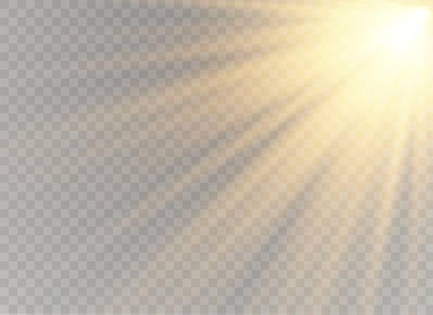 Efeito especial de reflexo de luz com raios de luz e brilhos mágicos. conjunto de efeitos de luz transparente de brilho, explosão, brilho, faísca, flash de sol.
