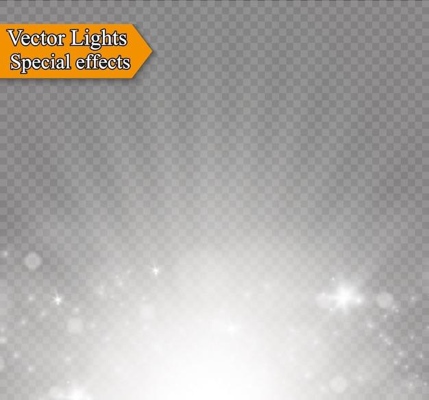 Efeito especial de reflexo de luz com raios de luz e brilhos mágicos
