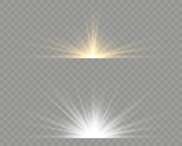 Efeito especial de reflexo de luz com raios