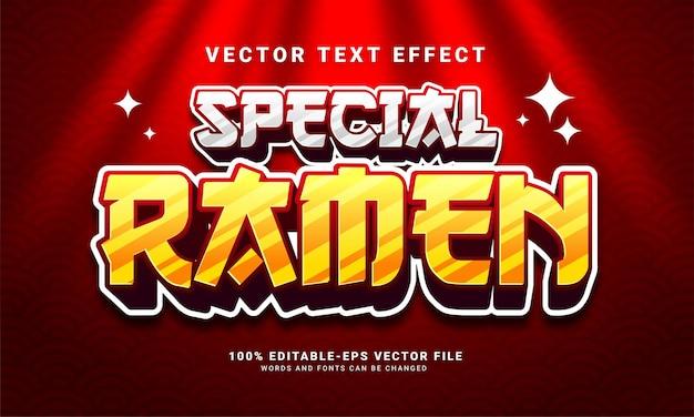 Efeito especial de texto ramen 3d, estilo de texto editável e adequado para menu de comida asiática