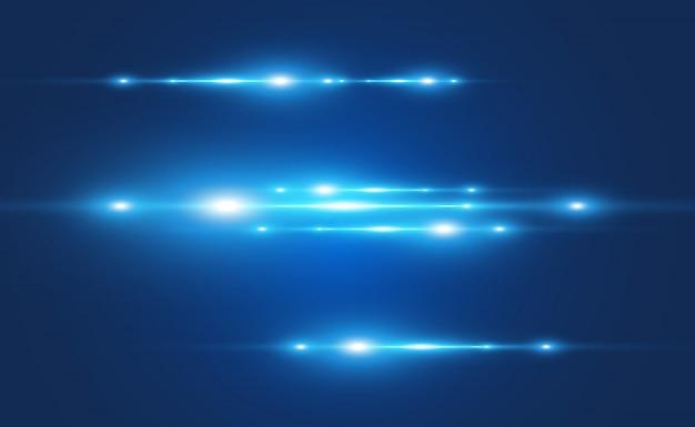 Efeito especial de vetor azul claro. brilhantes belas linhas brilhantes sobre um fundo escuro.