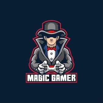 Efeito especial do modelo do logotipo do magic gamer mascote do jogo jovem