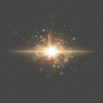 Efeito especial - partículas e faíscas brilhantes do sol da estrela. luzes de bokeh de glitter e lantejoulas em fundo transparente.