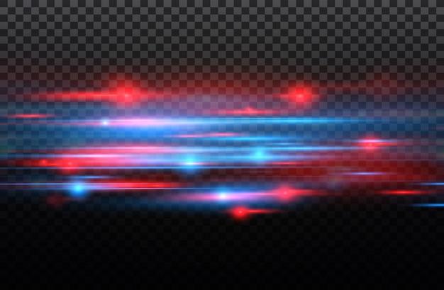 Efeito especial vermelho e azul. listras luminosas em um fundo transparente. efeito de movimento de partículas e brilho bonito brilho.