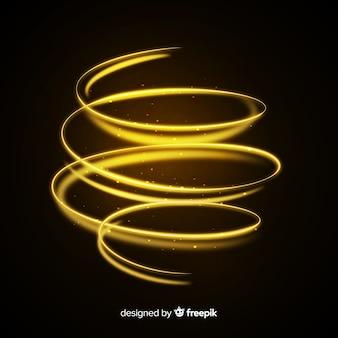 Efeito espiral dourado brilhante decorativo