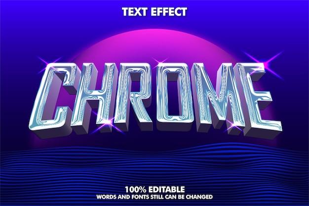 Efeito ext editável em cromo realista com fundo retro-ondas