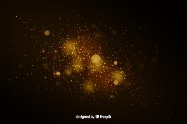 Efeito flutuante de partículas douradas