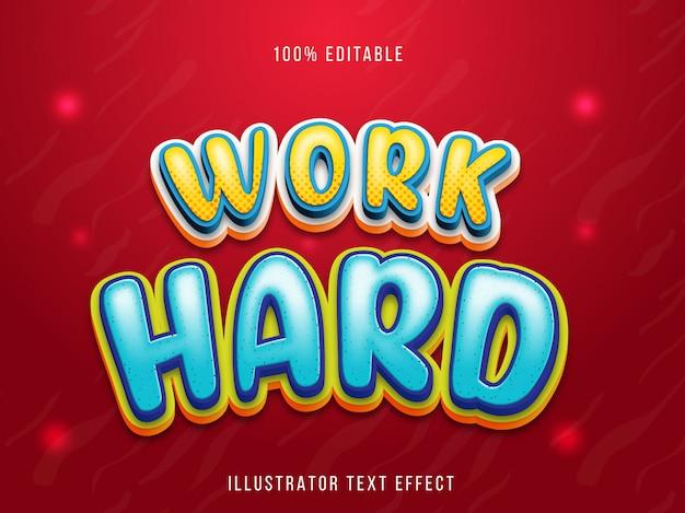 Efeito fonte editável - estilo de título hard work