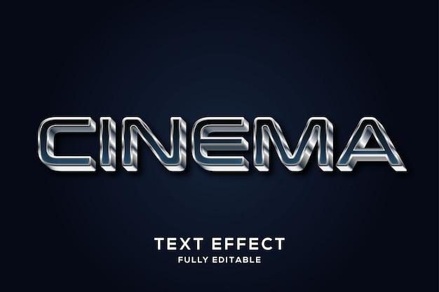 Efeito futurista de estilo de texto 3d prateado e azul escuro