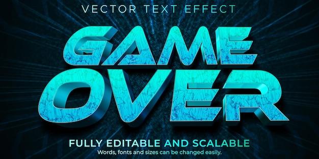 Efeito game over text, neon editável e estilo de texto esportivo