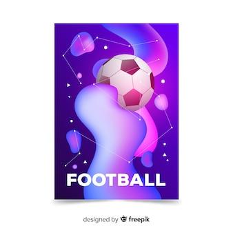 Efeito líquido de modelo de cartaz de futebol