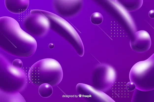 Efeito líquido realista fundo roxo