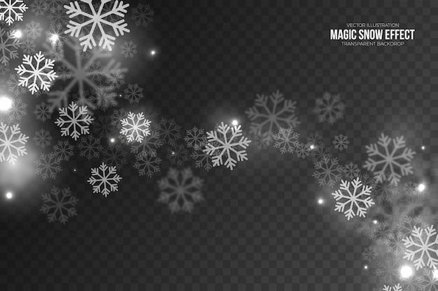 Efeito mágico de neve caindo com flocos de neve voadores brancos transparentes
