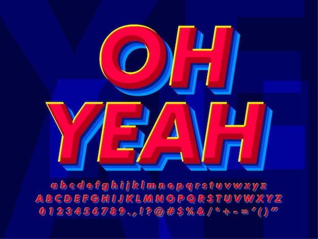Efeito moderno de texto vermelho e azul