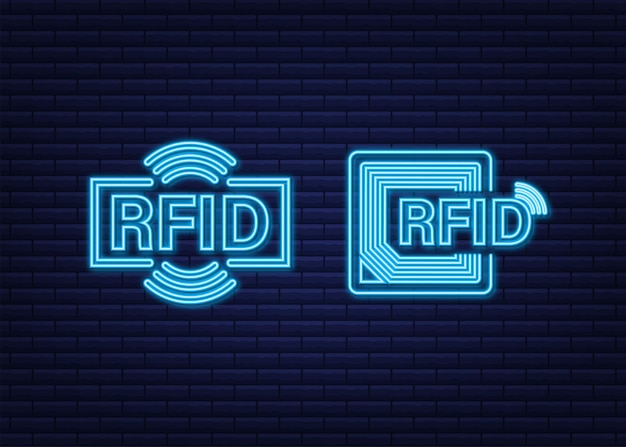 Efeito neon do fid radio frequency identification. conceito de tecnologia. tecnologia digital.