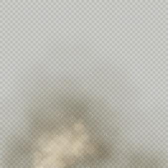 Efeito pó bege ou pó no fundo transparente. explosão de solo seco. partícula de fumaça marrom expira no ar.
