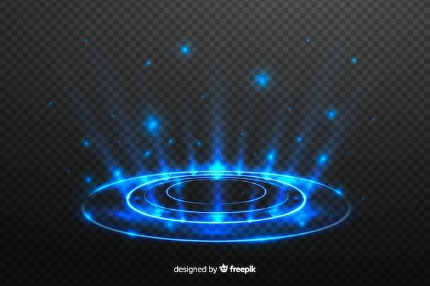 Efeito portal de luz em fundo escuro