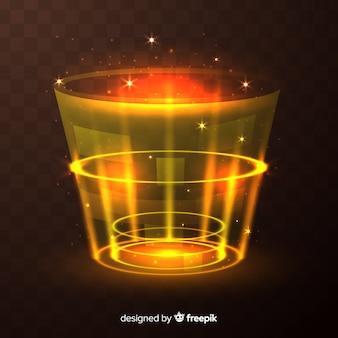 Efeito portal decorativo de luz amarela