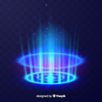 Efeito portal decorativo de luz azul