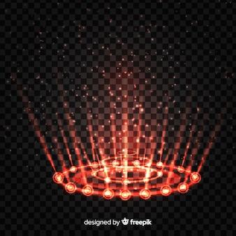 Efeito portal decorativo de luz vermelha