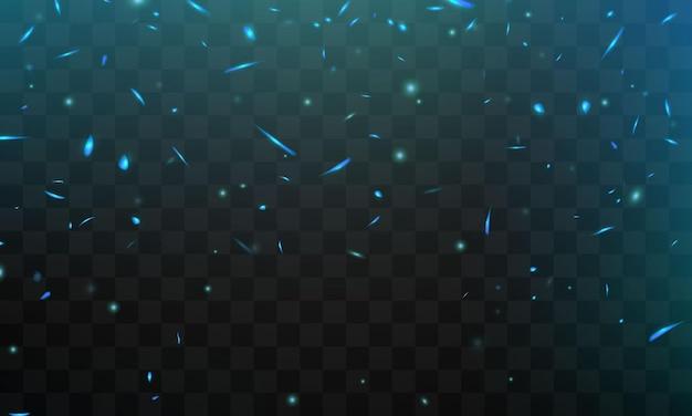 Efeito queima de faíscas de fogo realistas, chamas azuis