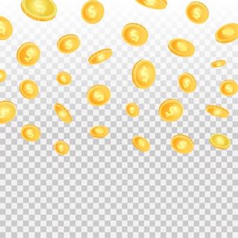 Efeito realista com moedas caindo no fundo transparente.