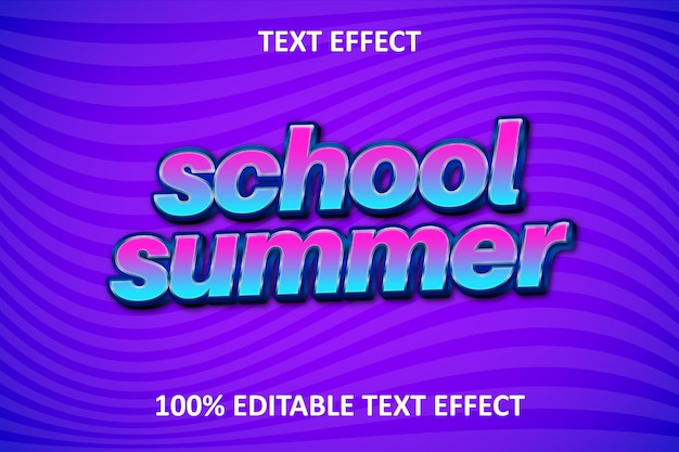 Efeito retro de texto editável de verão escolar