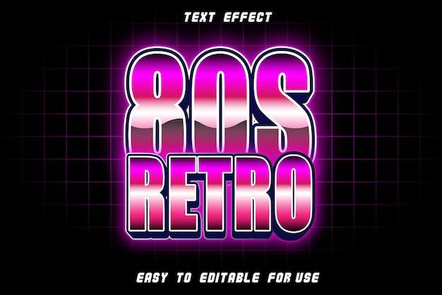 Efeito retro de texto editável dos anos 80 em relevo estilo retro