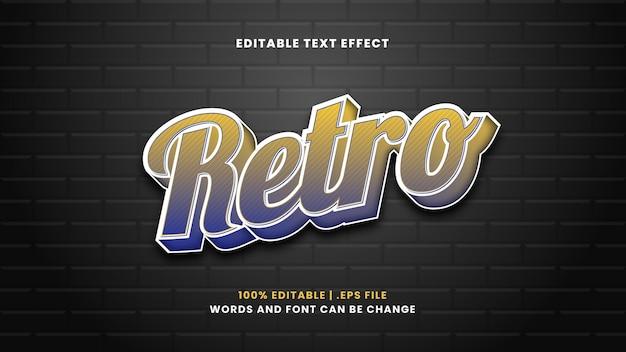 Efeito retro de texto editável em estilo 3d moderno