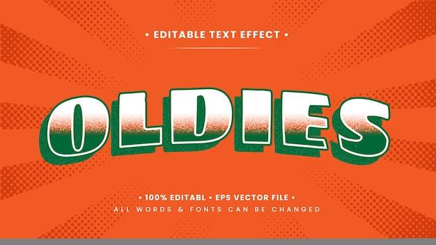 Efeito retro do estilo do texto 3d dos oldies do vintage. estilo de texto editável do ilustrador.