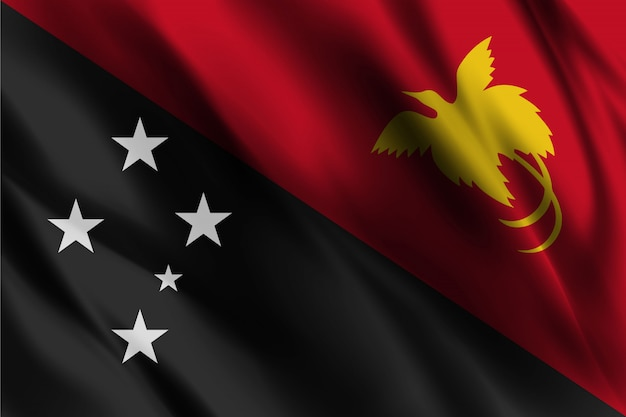 Efeito seda ondulando a bandeira da papua nova guiné