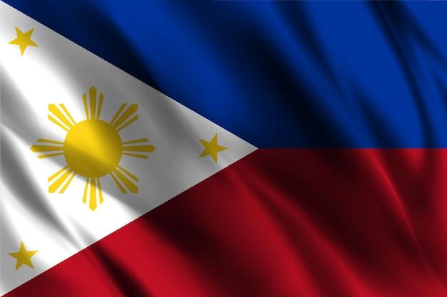 Efeito seda ondulando bandeira das filipinas
