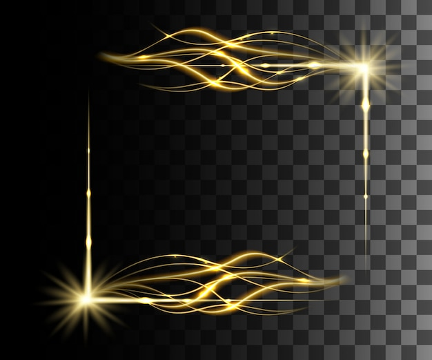 Efeito transparente amarelo brilho, reflexo de lente, explosão, brilho, linha, flash de sol, faísca e estrelas. para ilustração de arte de modelo, para comemorar o natal, raio de energia mágica de flash