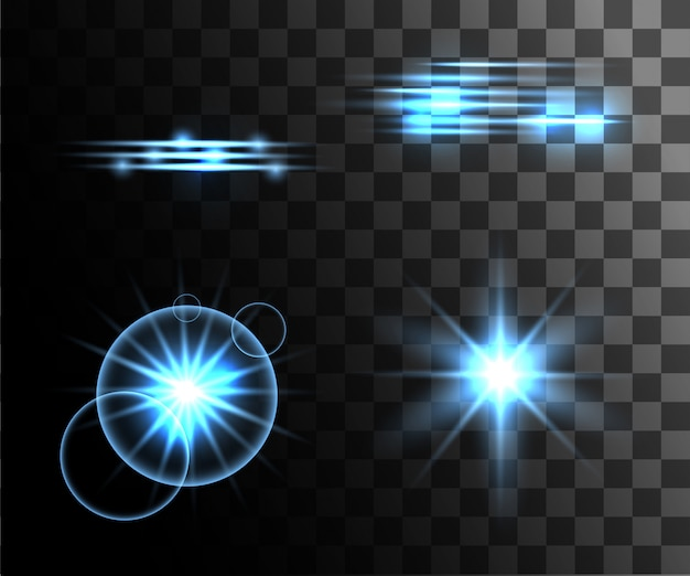 Efeito transparente branco brilhante, reflexo de lente, explosão, brilho, linha, flash solar, faísca e estrelas. para ilustração de arte de modelo, banner para comemorar o natal, raio de energia mágica