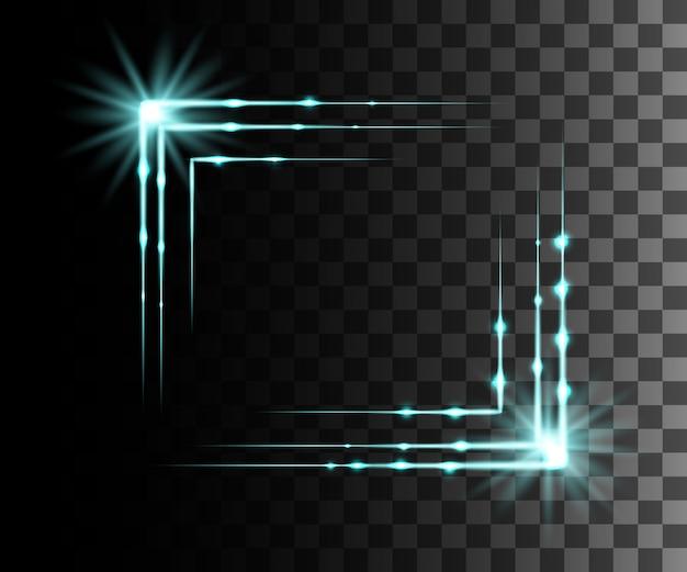 Efeito transparente de brilho azul, reflexo de lente, explosão, brilho, linha, flash de sol, faísca e estrelas. para ilustração de arte de modelo, para comemorar o natal, raio de energia mágica de flash