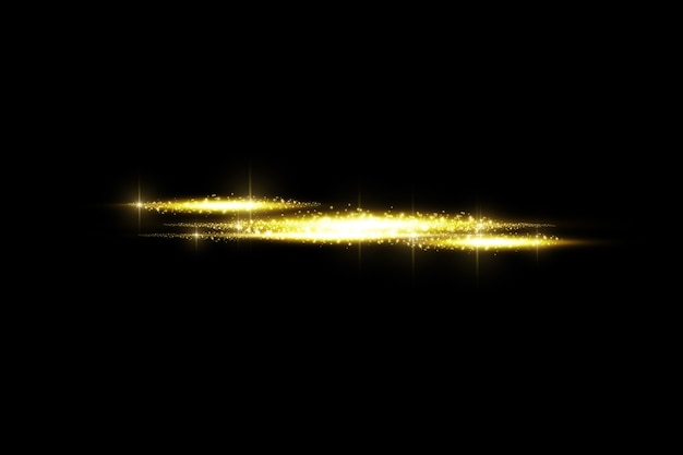 Efeito transparente dourado de brilho isolado, reflexo de lente, explosão, brilho, linha, flash de sol, faísca e estrelas.