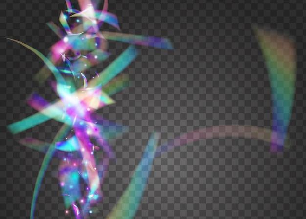 Efeito transparente. folha brilhante. bokeh glitter. arte do feriado. pano de fundo do partido vaporwave. fundo azul do disco. laser flyer. neon tinsel. efeito transparente rosa