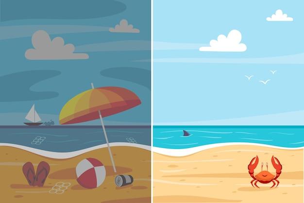 Efeitos ambientais na praia antes e agora