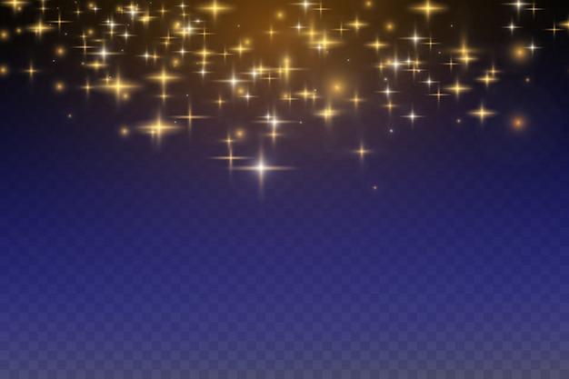 Efeitos brilhantes de luz, flash, explosão e estrelas. Vetor Premium
