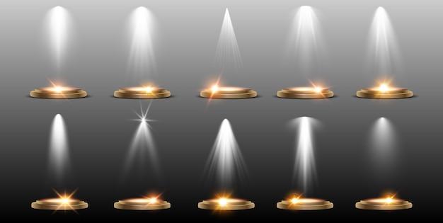 Efeitos de coleta de iluminação de cena iluminação brilhante com holofotes