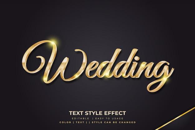 Efeitos de estilo de texto 3d de luxo com gradientes de ouro
