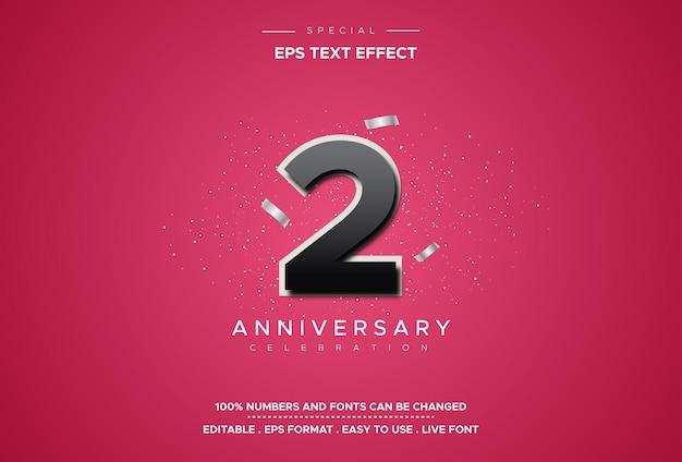 Efeitos de estilo de texto editáveis com segundo aniversário