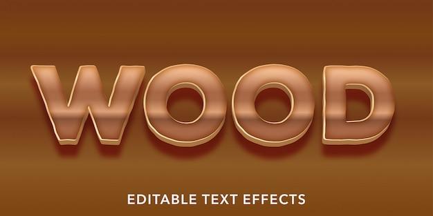 Efeitos de estilo de texto editável em madeira