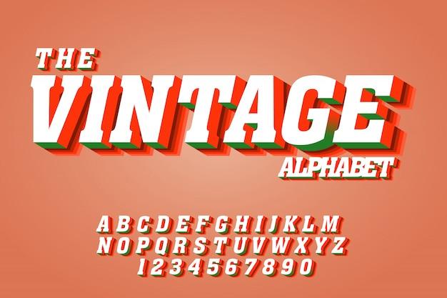 Efeitos de fonte de texto vintage em 3d