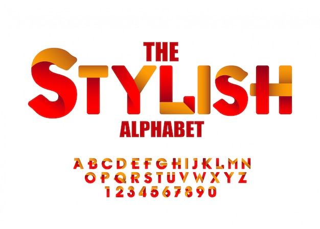 Efeitos de fontes modernas com o uso de estilos de gradiente para título, cabeçalho, letras, logotipo e outros projetos