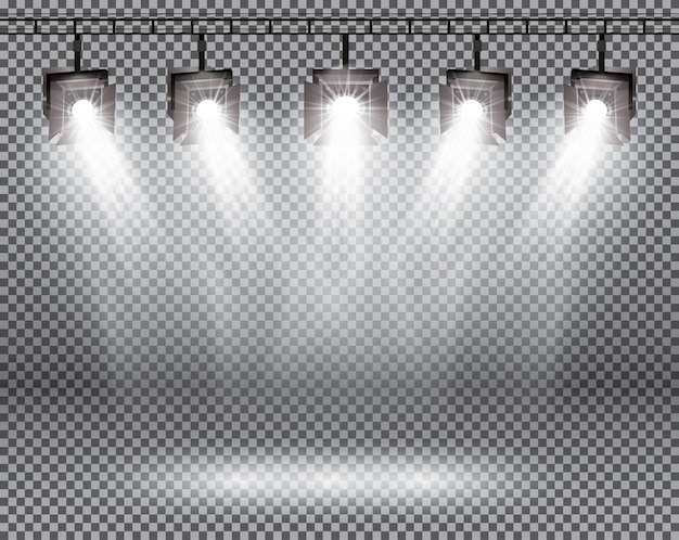 Efeitos de iluminação de cena com holofotes em fundo transparente.